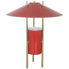 Vintage 1960s Modernist Midcentury Red Tripod Table Light Made in Italy, 1960s
