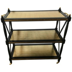 Fine Ebony and Gilt Glass Bronze Mounted Three-Tier Tea Serving Cart