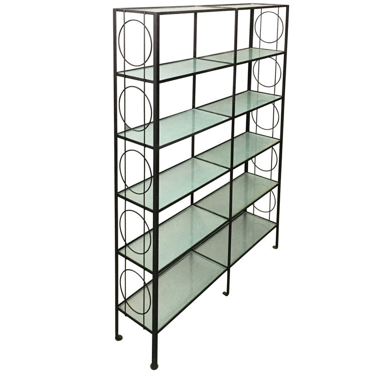 mid century wrought iron and textured glass tager for sale at 1stdibs. Black Bedroom Furniture Sets. Home Design Ideas