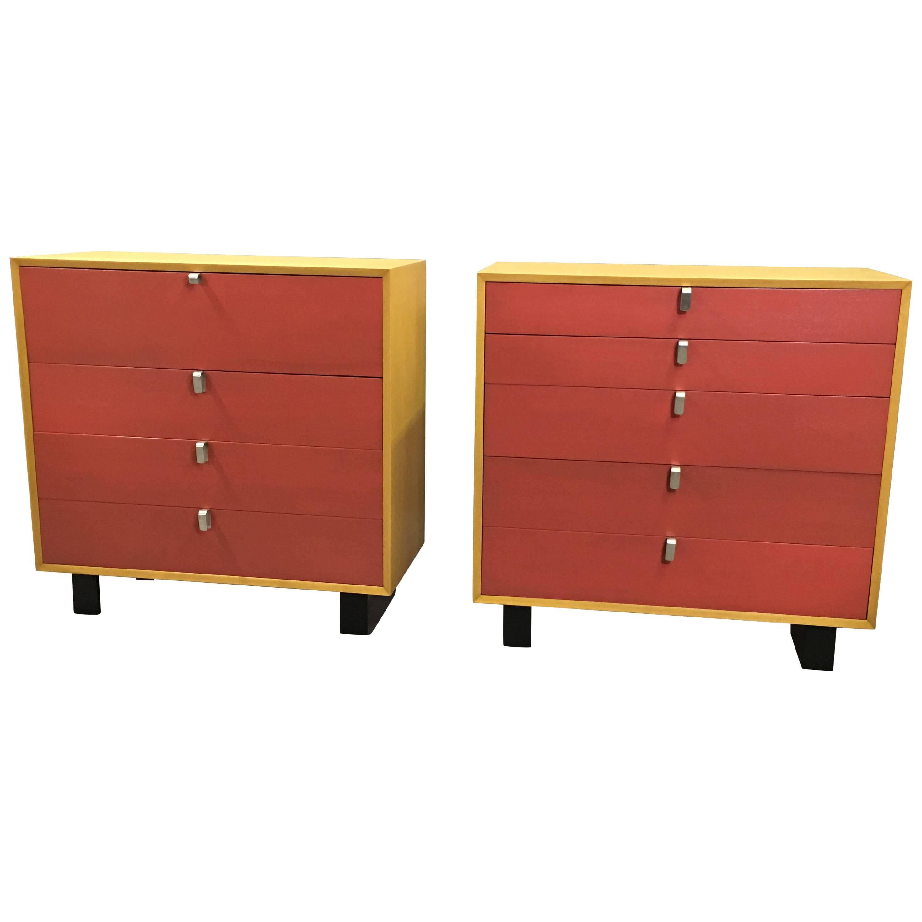 Lacquered George Nelson Highboy Gentleman's Chest Rare Aluminum Pulls
