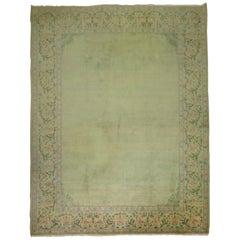 Green Vintage Persian Tabriz Rug