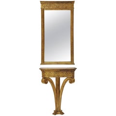 Greek Key Pier Mirror and Matching Console