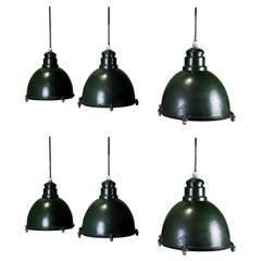 Set of Six Vintage 1930 Industrial Westinghouse Factory Pendant Bell Light