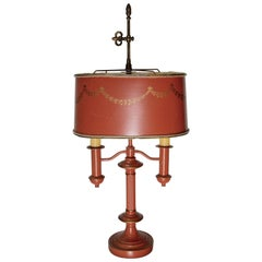 Orange Tole Lamp in the French Empire Bouillette Style