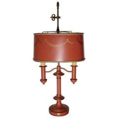 Orange Tole Lamp in the French Empire Bouillette Style