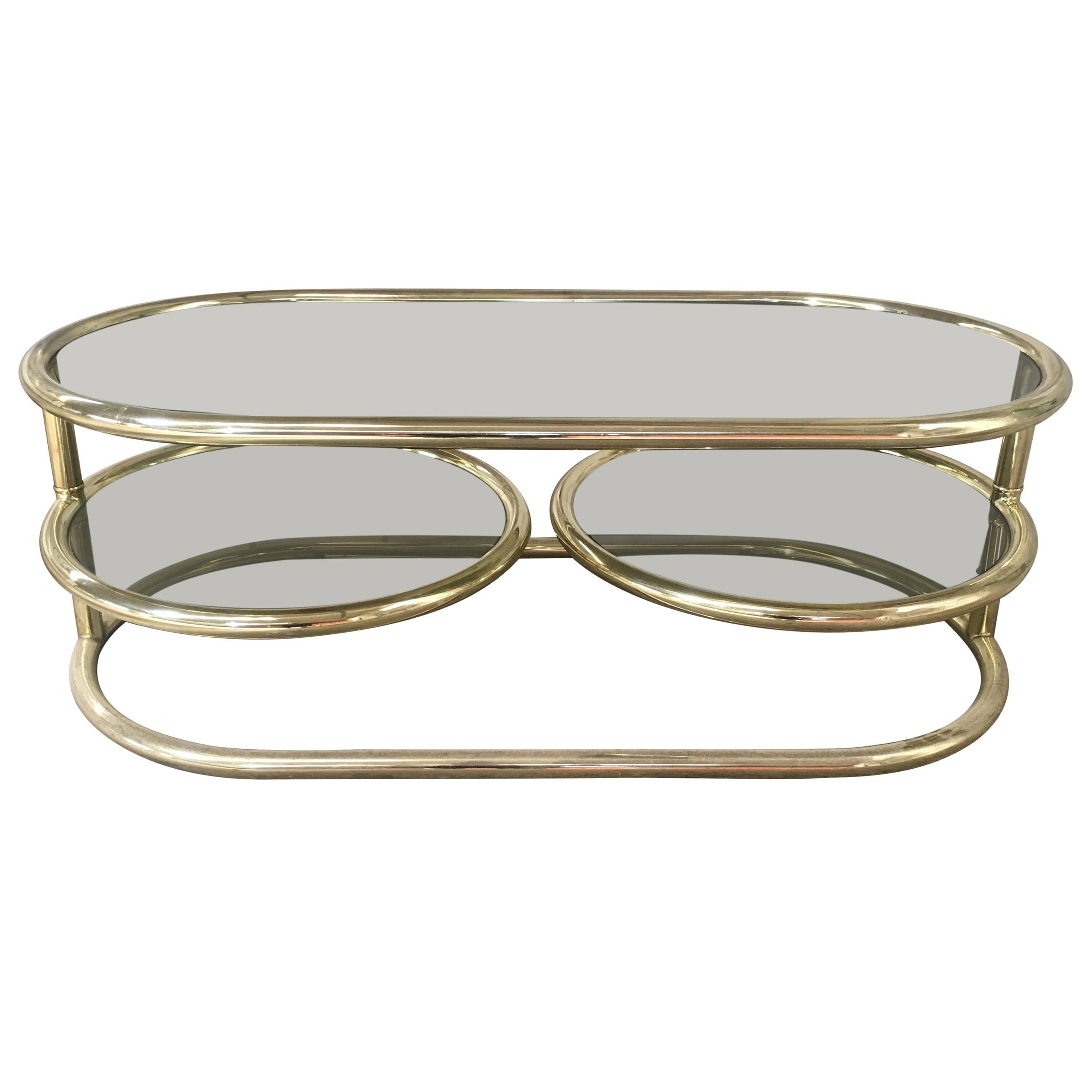 Brass Plated Coffee Table With Smoked Glass And Movable Shelves, Italy,  1970s 1 Part 96