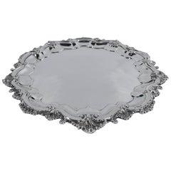 Fancy Georgian Revival Sterling Silver Salver Tray
