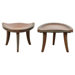 Pair of Early 20th Century Carved Walnut Stools