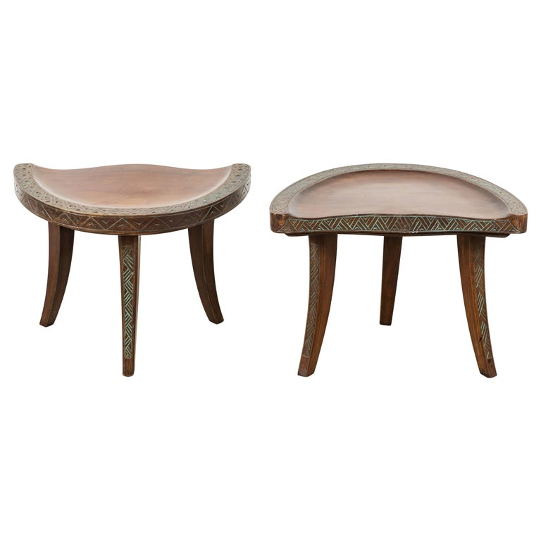 Pair of Early 20th Century Carved Walnut Stools For Sale