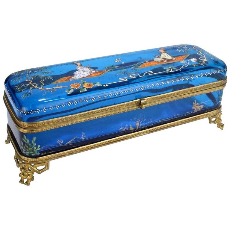 Large Japonisme Moser-Type Bronze Mounted & Enameled Blue Glass Casket Box