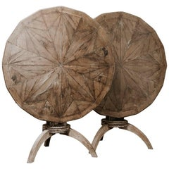 19th Century Pair of Oak and Twig Starburst Tilt-top Tables