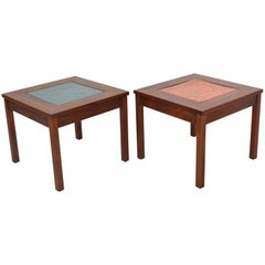 Pair of Brown Saltman Side Tables by John Keal, Walnut and Enamel, Mid-Century