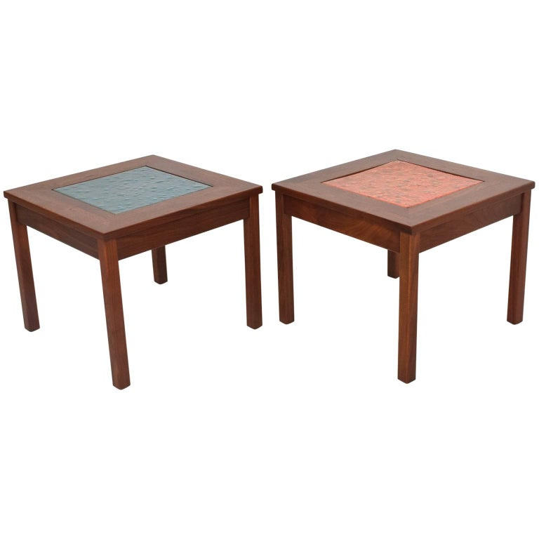 Pair of Hexagonal Side Tables by John Keal for Brown Saltman at 1stdibs