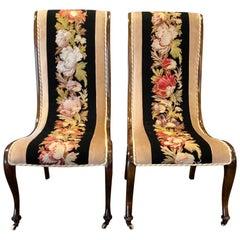 Pair of Napoleon III Needlepoint Slipper Chairs