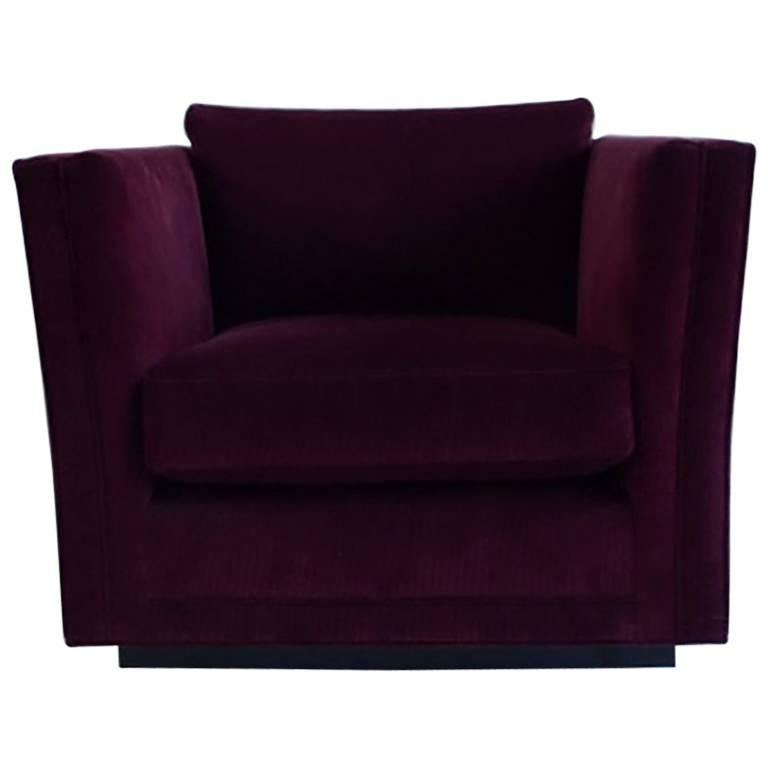 NK Collection Modern Swivel Chair Upholstered in Maroon Corduroy For Sale