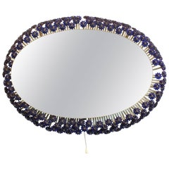 Illuminated Mirror with Floral Frame by Emil Stejnar