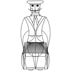 John Risley Mustachioed Anthropomorphic Wire Chair