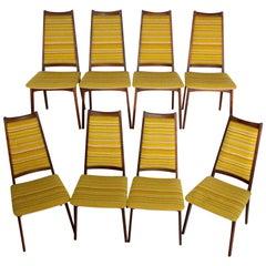 Mid-Century Modern Danish Set of Eight Dinning Table Chairs