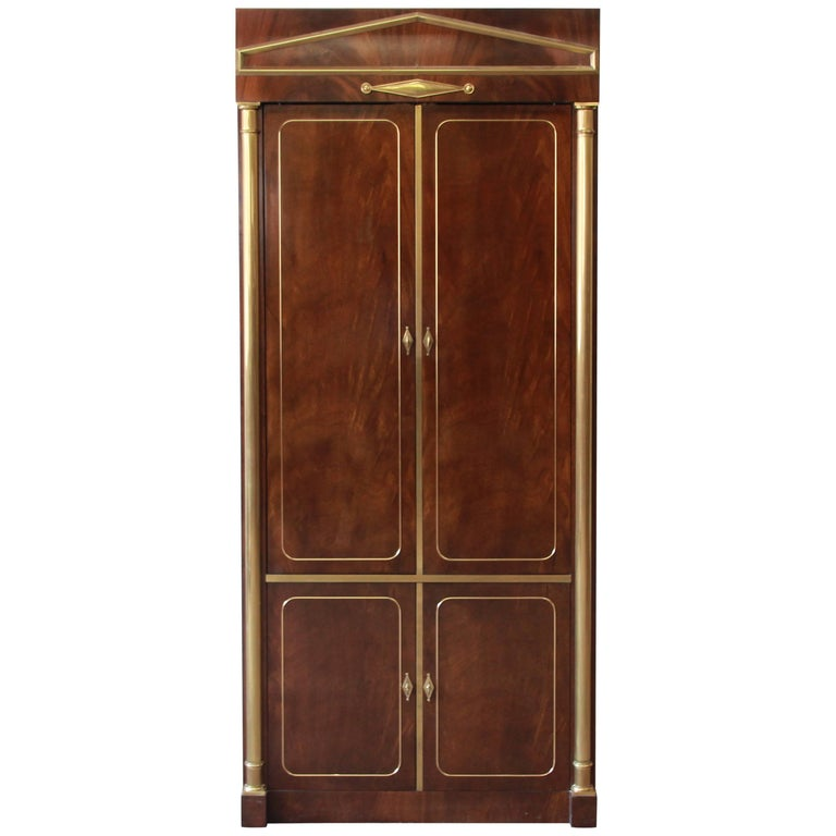 Mastercraft burl wood and brass lighted bar cabinet for for Burl wood kitchen cabinets