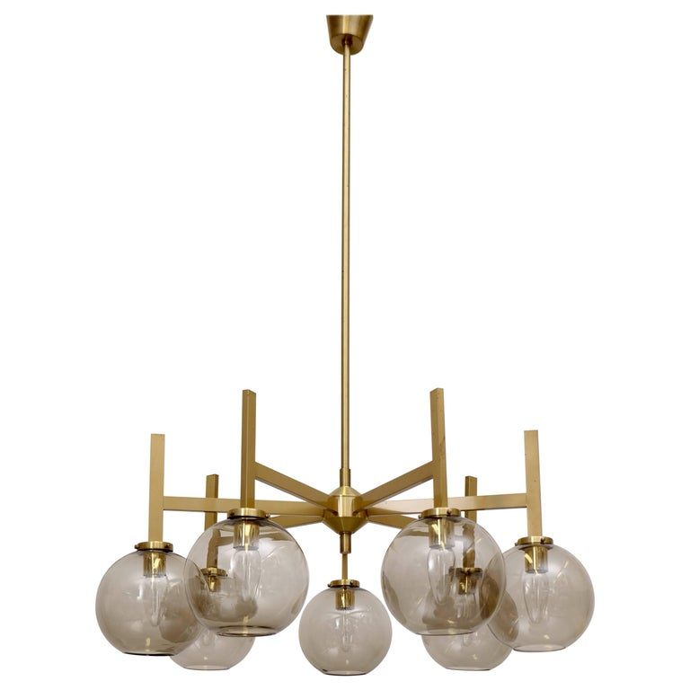 Large Brass Chandelier By Holger Johansson Sweden 1960s For