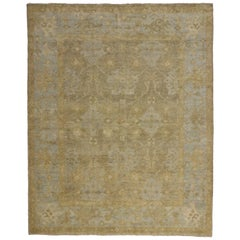 New Contemporary Oushak Rug with Swedish Gustavian Style, Transitional Area Rug