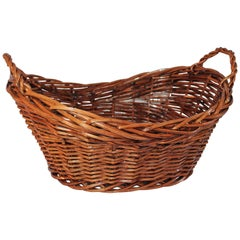 19th Century Willow Laundry Basket with Double Handles