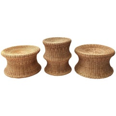 Set of Three Eero Aarnio Wicker Juttu Stools