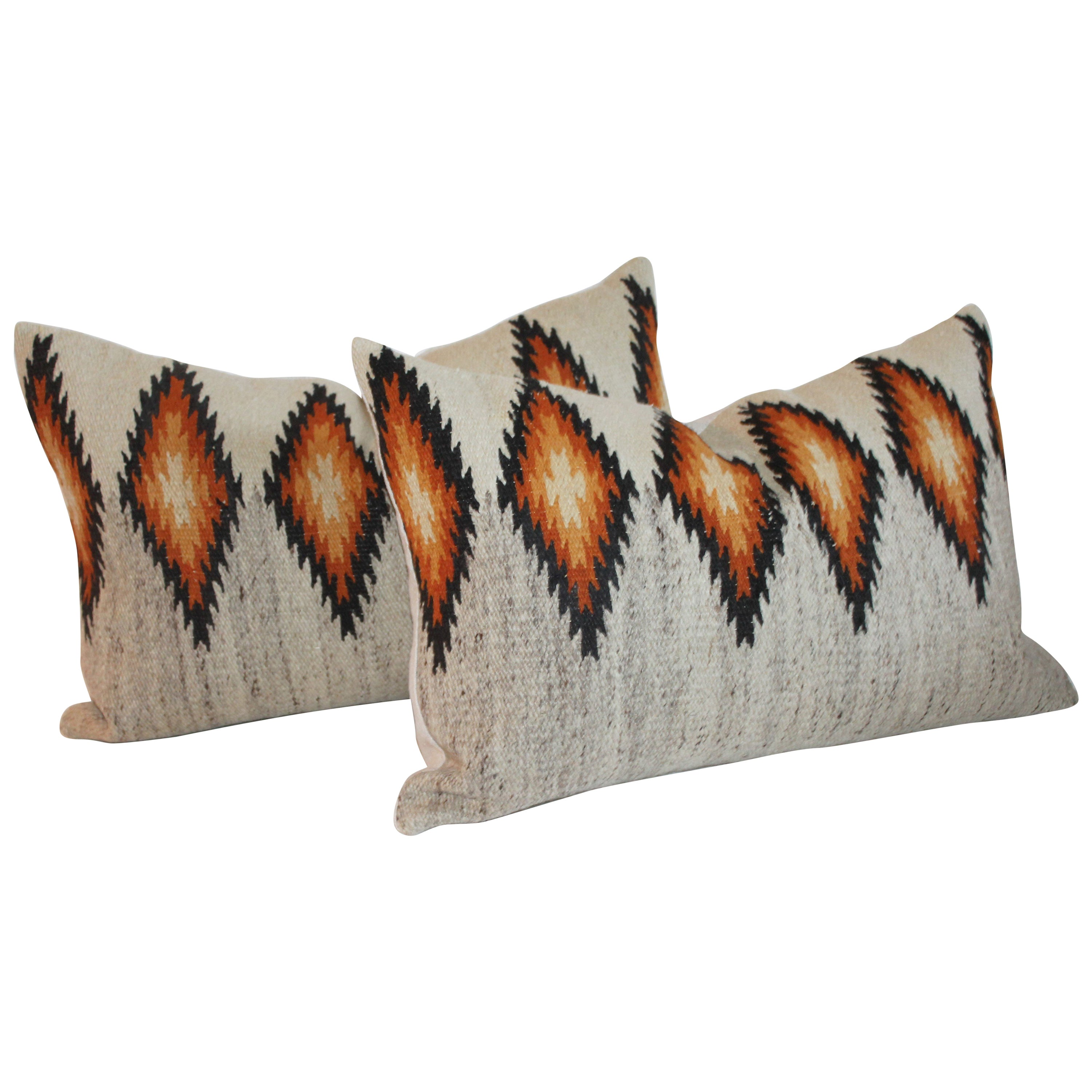 Navajo Indian Eye Dazzler Weaving Bolster Pillows, Pair
