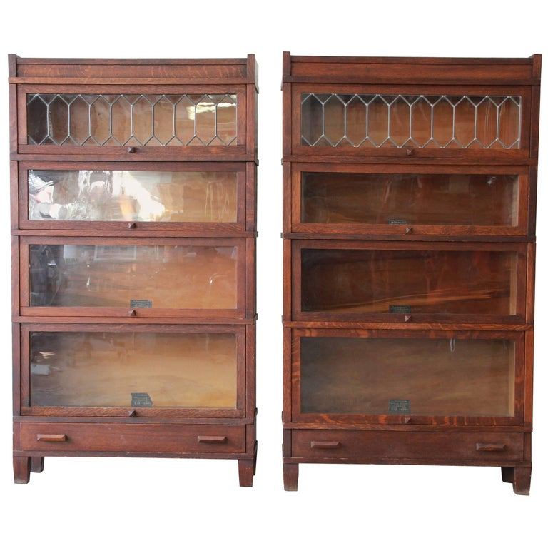 Antique Oak Barrister Bookcases With Leaded Glass Doors By Globe Wernicke Pair