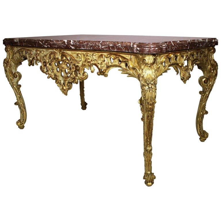 French Rococo 19th Century Louis XV Style Parcel Giltwood Carved Centre Table