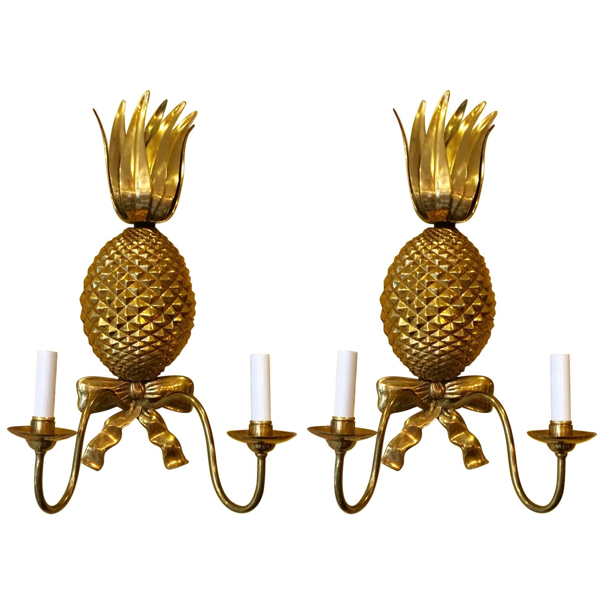 Pair of Midcentury American Brass Pineapple Sconces