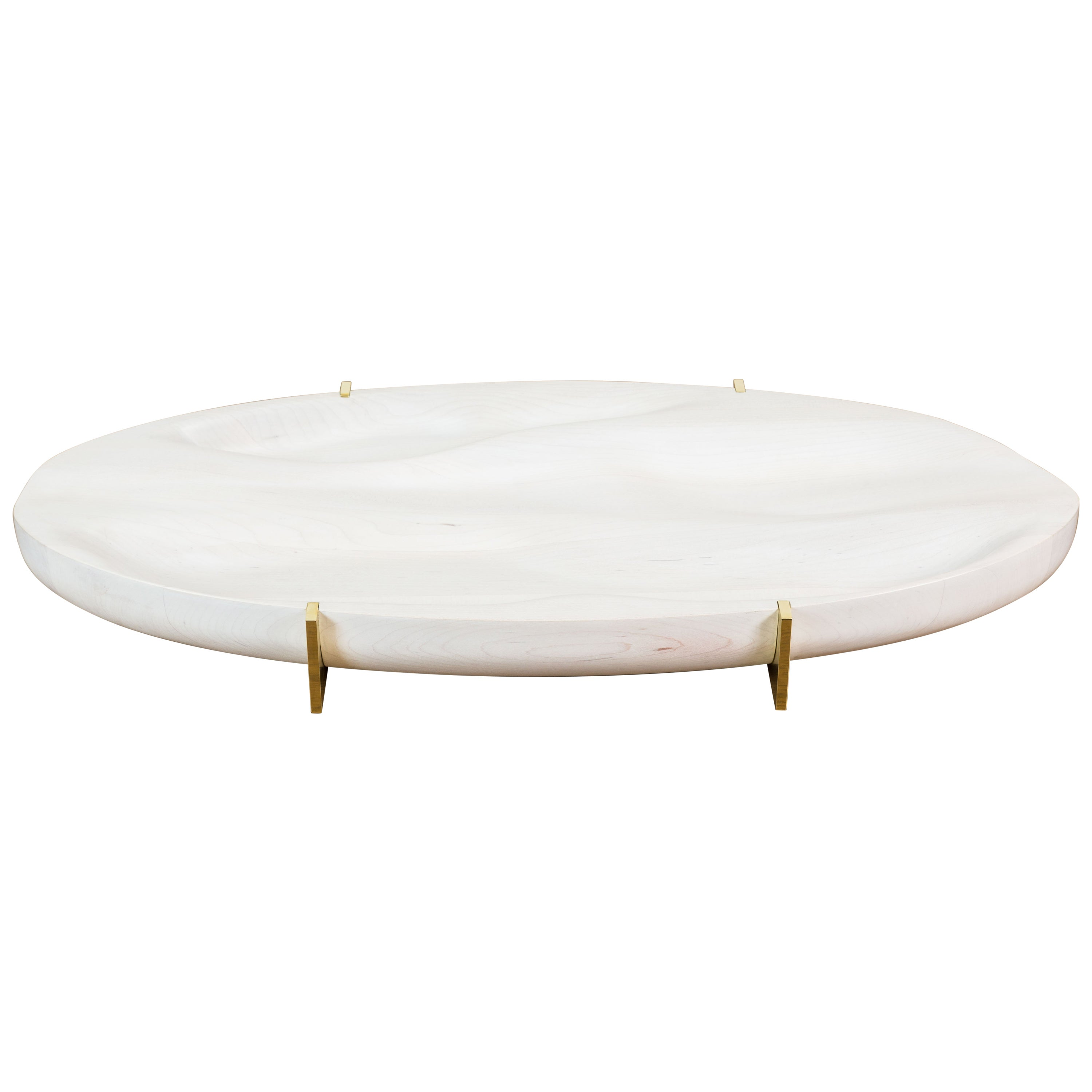 Bleached Maple and Brass Oval Tray by Vincent Pocsik for Lawson-Fenning