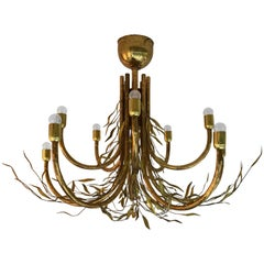 Chandelier Bamboo Brass, Italy, 1980s