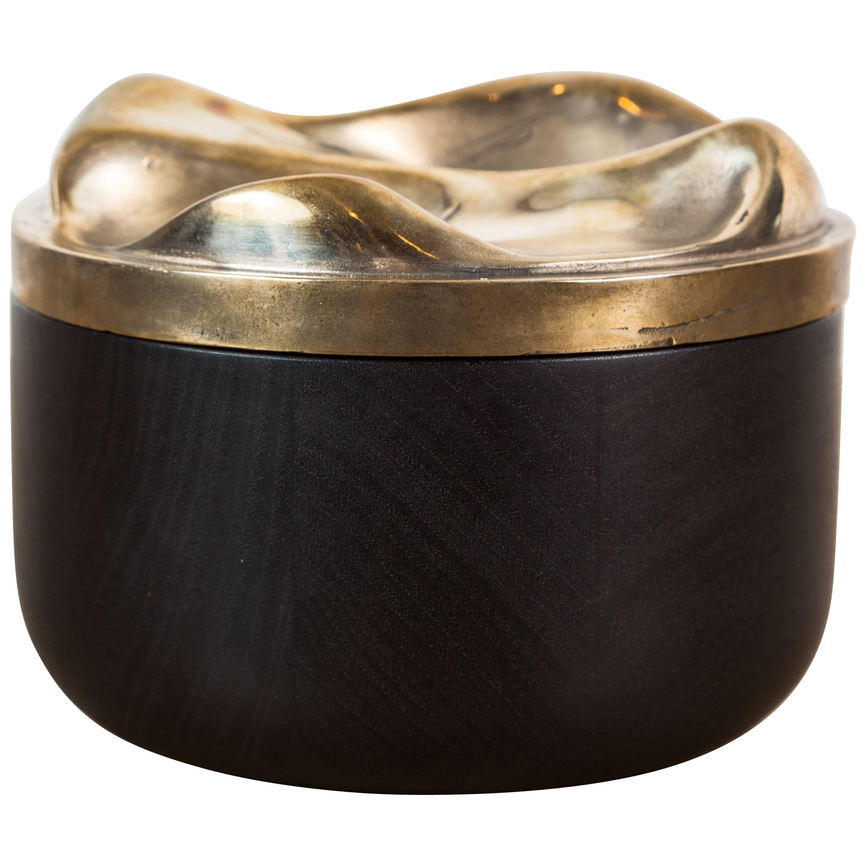Ebonized Walnut and Cast Bronze Round Box by Vincent Pocsik for Lawson-Fenning