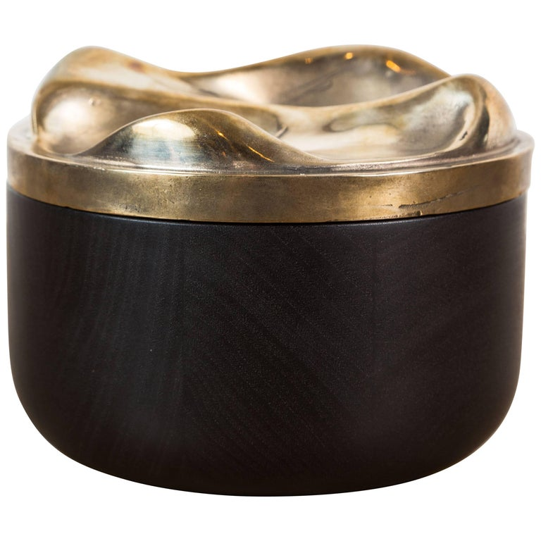 Blackened Walnut and Brass Bowl by Vincent Pocsik for Lawson-Fenning For Sale