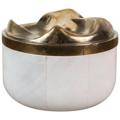Bleached Maple and Cast Bronze Round Box by Vincent Pocsik