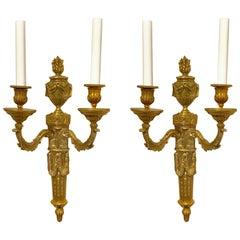 Pair of Louis XVI Style Gilt Bronze Wall Lights