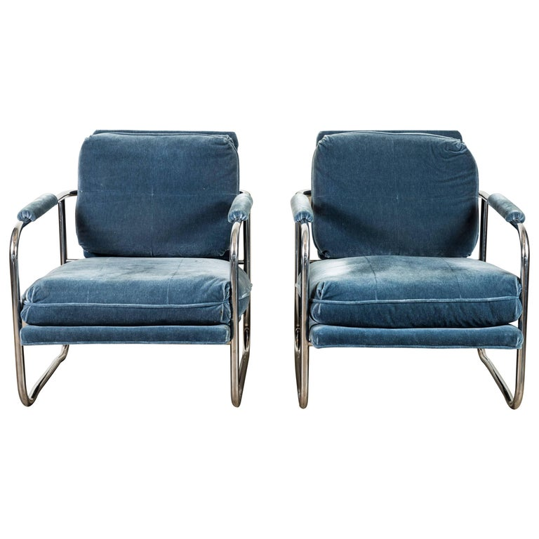 Pair of Mohair and Chrome Armchairs by Pace Collection For Sale