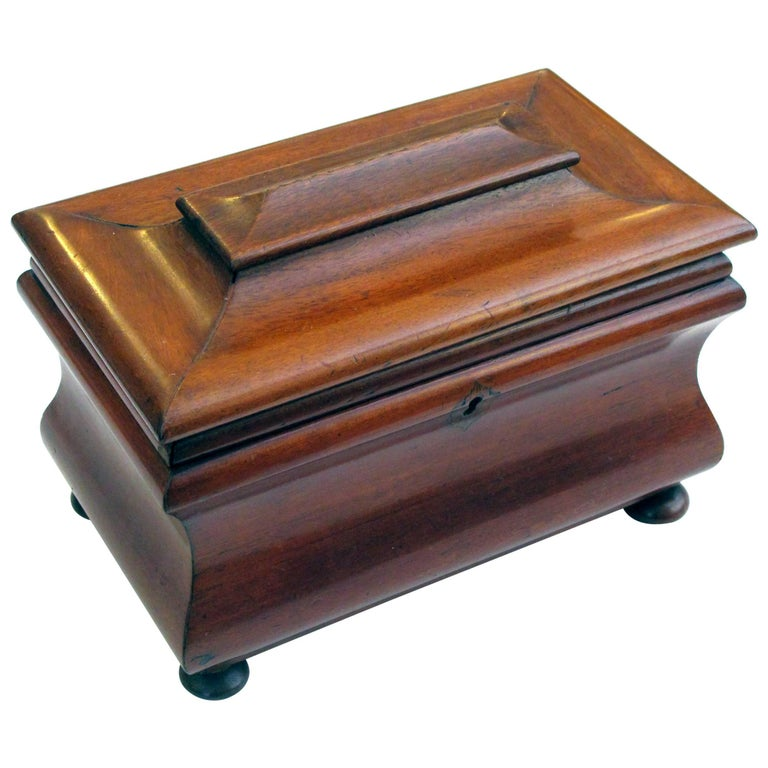 Shapely English Victorian Bombe-Form Mahogany Tea Caddy on Bun Feet
