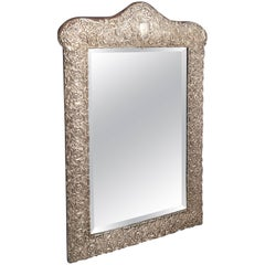 English Vanity or Table Mirror of Sterling Silver, circa 1898