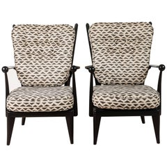 Pair of French Fruitwood Lounge Chairs