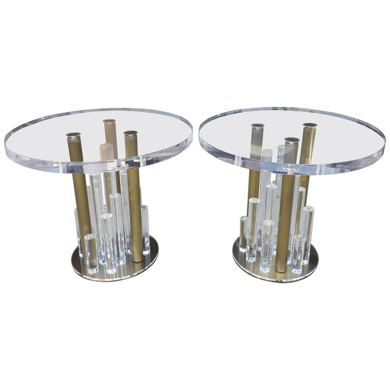 """Loretta Jones"" Side Tables in Lucite and Solid Brass by Charles Hollis Jones"