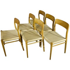 Niels Otto Møller 1960s Mid-Century Dining Chairs in Oak Model 75