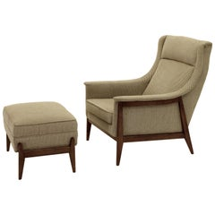 Exquisite Armchair and Ottoman by Selig in Original Cotton Felt