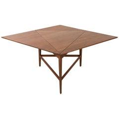 Midcentury Angular Walnut Drop Leaf Table Attributed to Dunbar