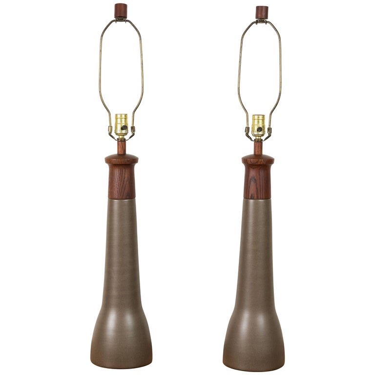 Pair of Teak and Ceramic Lamps by Martz