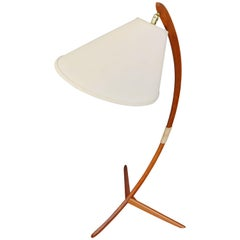 Danish Teak Arc or Bow Floor Lamp Rispal Style