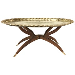 Large Oval Vintage Brass Tray Coffee Table on Mid-Century Folding Base