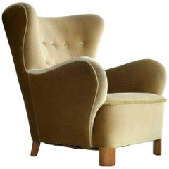 Flemming Lassen Style Wingback Armchair in Mohair, Denmark, 1940s