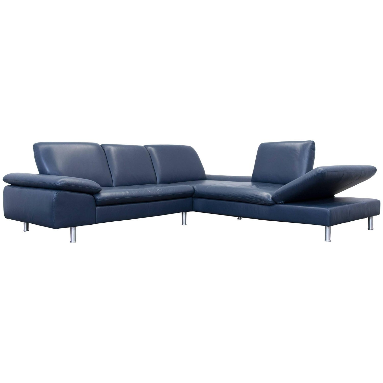Willi Schillig Designer Corner Sofa Leather Blue Function Couch
